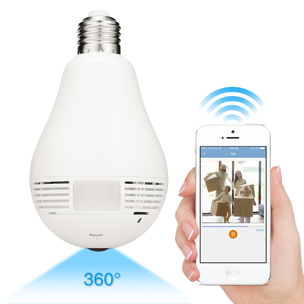 360° Panoramic 960P Hidden wifi Camera Light Bulb Home Security IP CAM Lamp