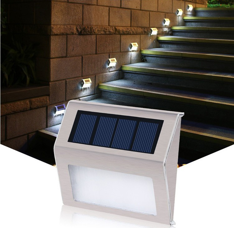 Details About Led Solar Stair Step Light Outdoor Waterproof Yard Deck Lights Wall Lamp