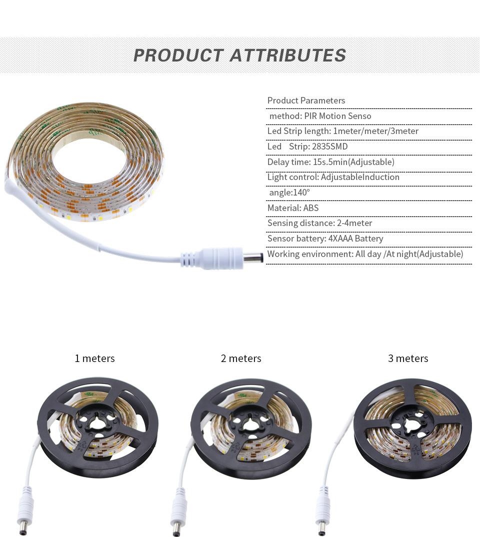 Led Pir Motion Sensor Strip Light Wireless Battery