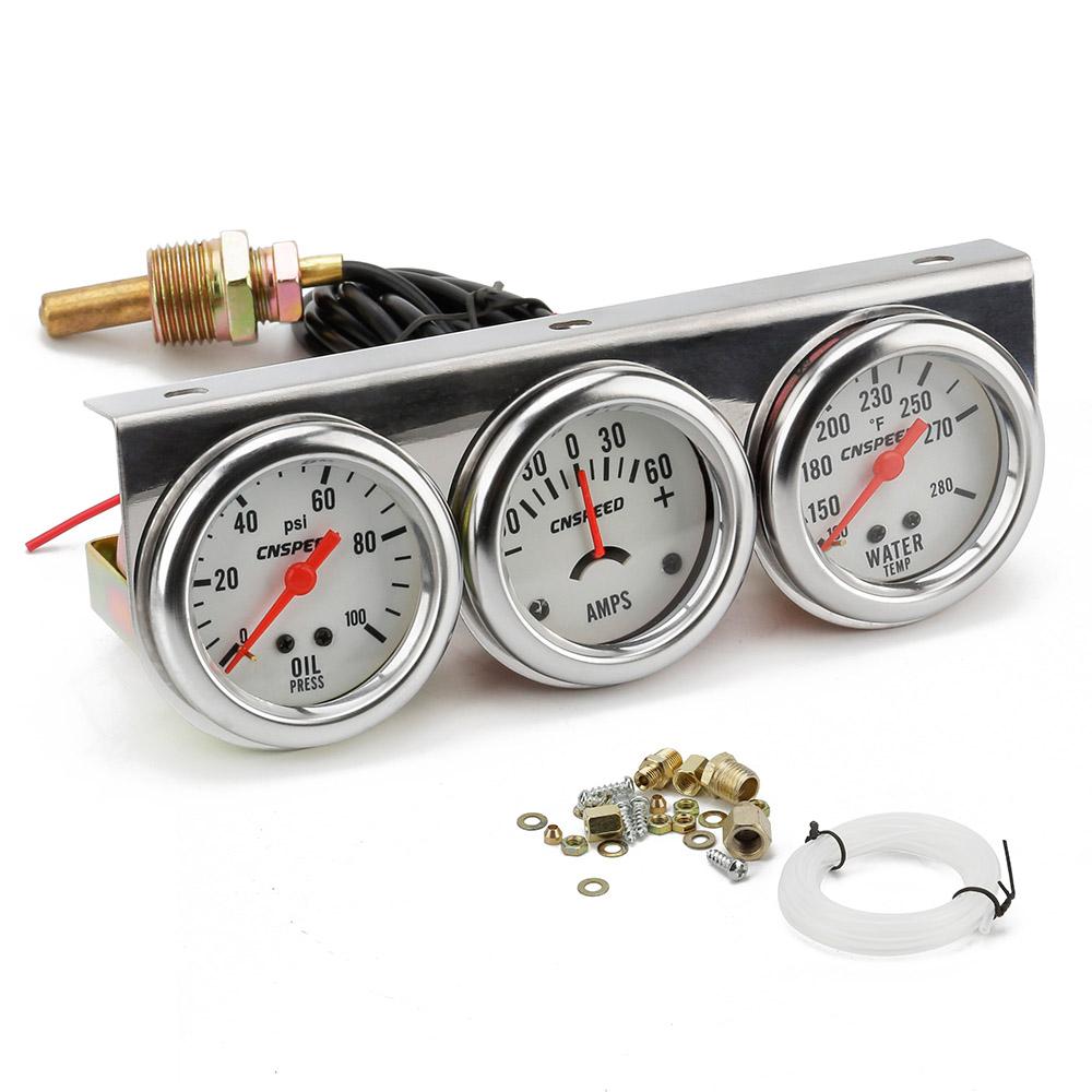52mm 2/'/' Chrome Vehicle Triple Gauge Kit AMP Meter Water Temp 3in1 Oil Pressure