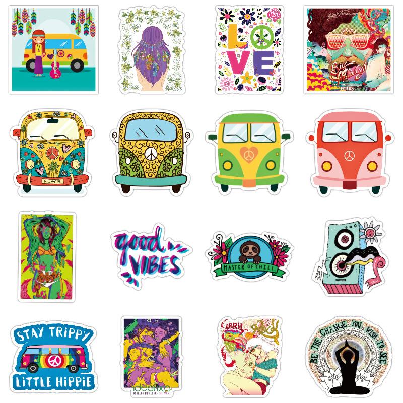 100x Hippie Laptop Skateboard Stickers Bomb Vinyl Luggage Decals Dope Sticker ..
