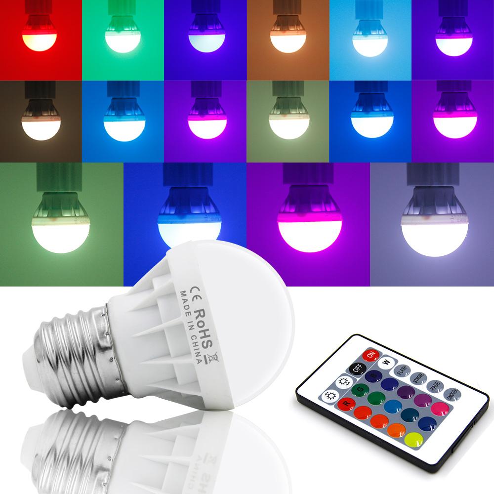4Pcs 3W E27 RGB Bunte LED Birne Strahler 16 Farbwechsel Lampe ...