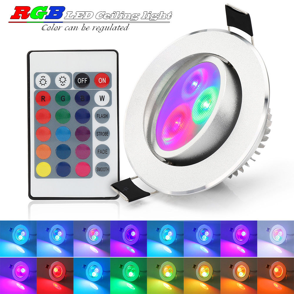 4x Rgb 16 Colour Changing Led Ceiling Light Recessed