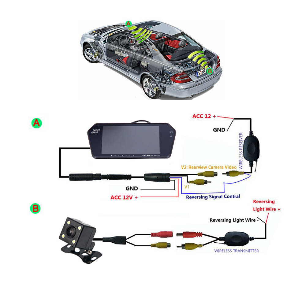 Bluetooth Wireless Car Backup Camera System 7\