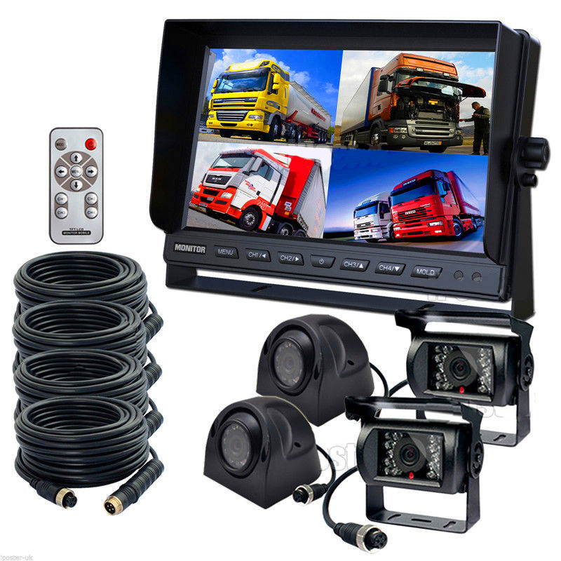 9 Quad DVR Monitor 4 Video+4x Reversing CCD Camera+4x 10M 4Pin Cable For Truck