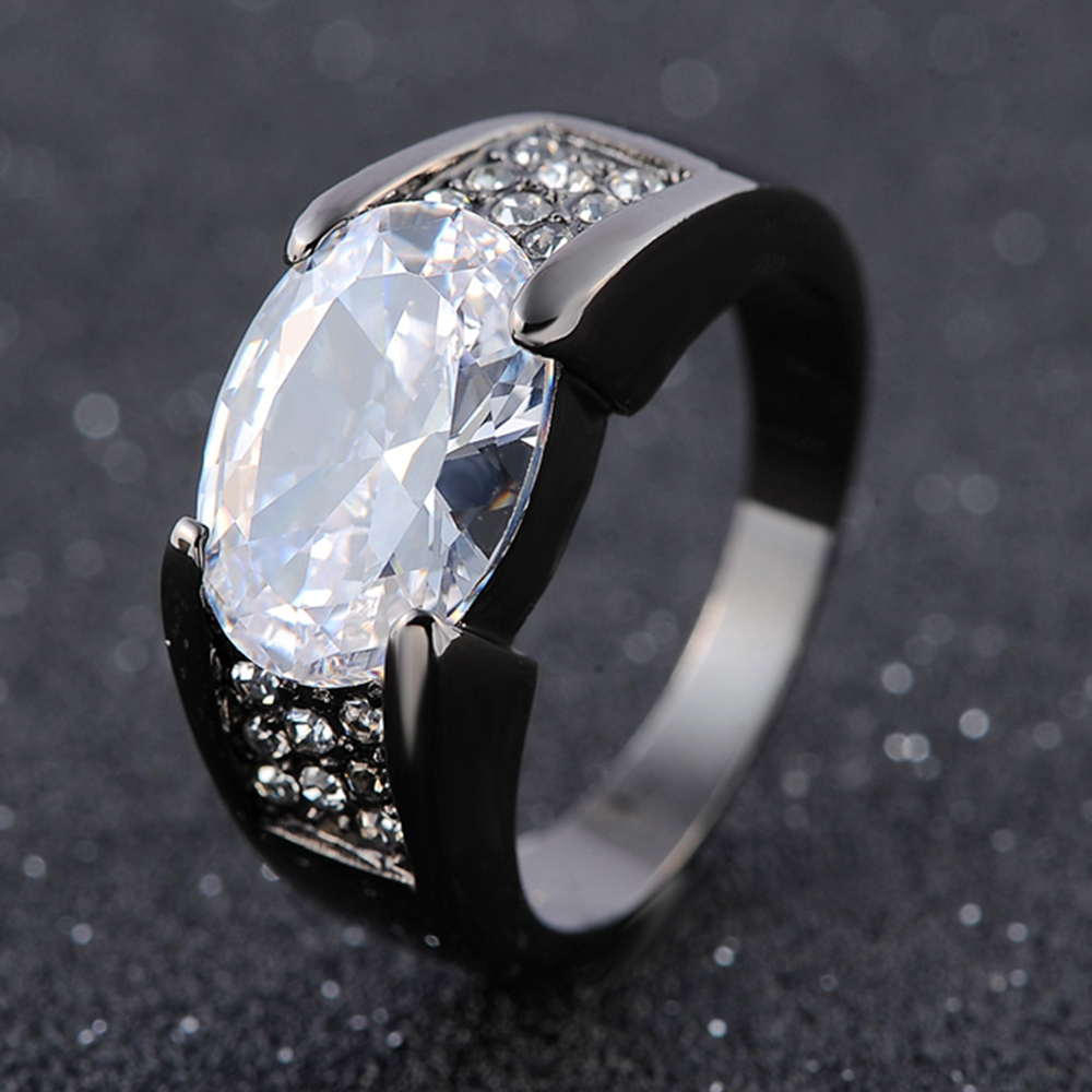 Solitaire Halo White CZ Topaz 18K Gold Filled Man/'s Wedding Rings Size 8-11