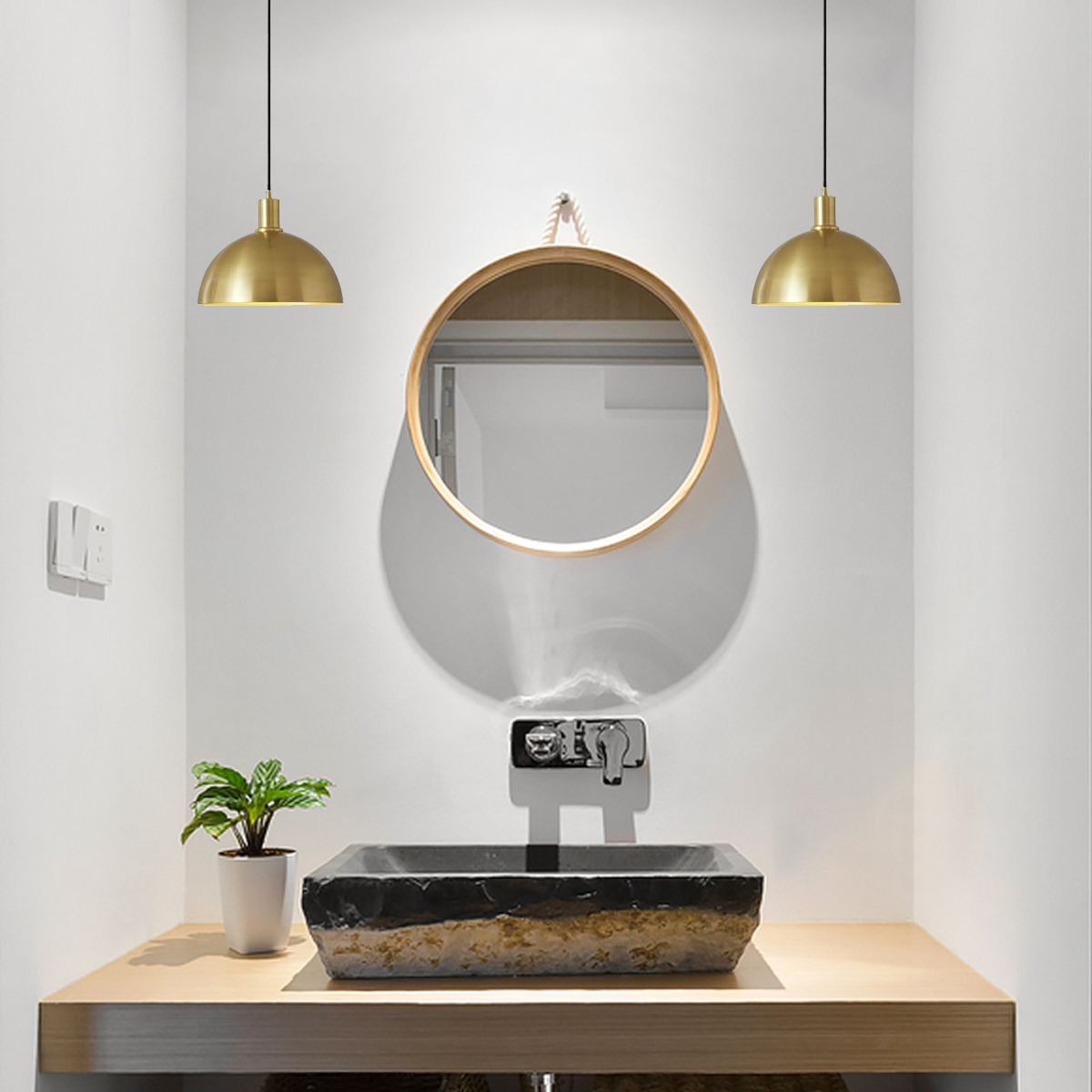 Brass Dome Pendant Light Kitchen Lamp Dining Room Cafe Led Lighting Fixtures Us Ebay