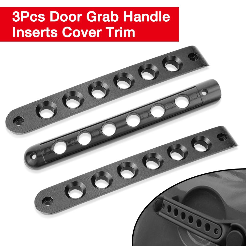 Tailgate Door Handle Grab Bar Aluminum Trim Insert Cover for Jeep Wrangler JK