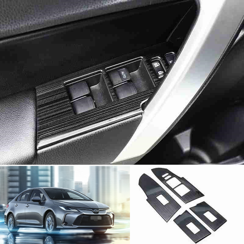 4PCS Carbon Fiber Window Switch Panel Cover Trim Fit For Toyota Corolla 2014-18