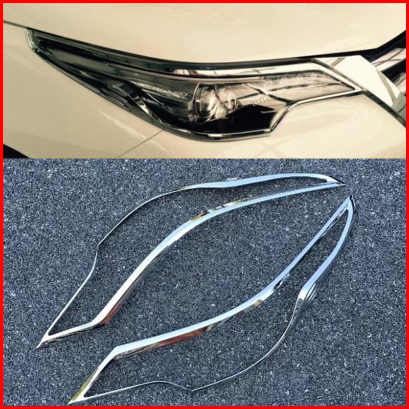 ABS Front Head Light Lamp Trim Cover 2pcs For Toyota Fortuner 2016-2018