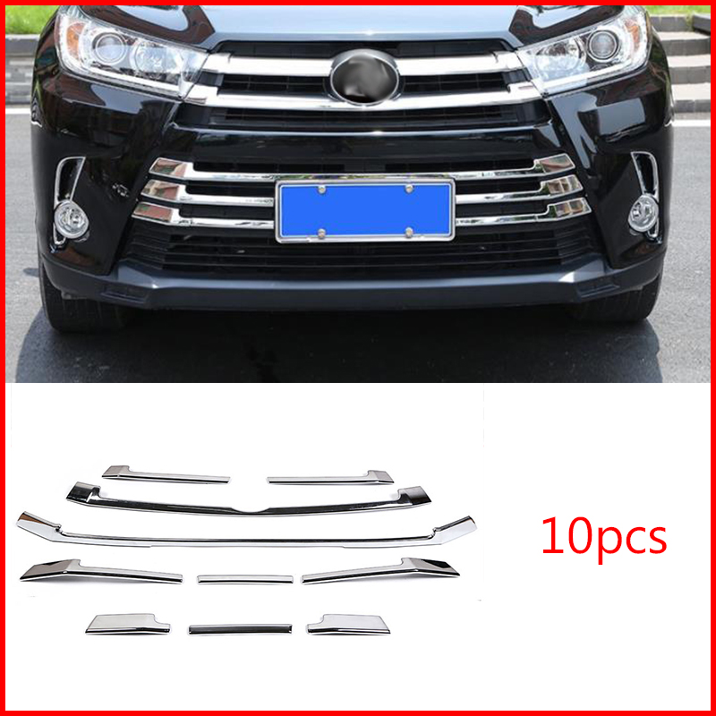 Chrome Front Bumper Grille Grill Cover ABS Trim  For Toyota Highlander 2017-2019