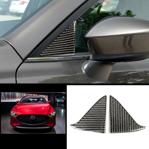 Carbon Fiber Stickers Window Pillars Post Cover Trim For Mazda 3 Axela 2017-2019
