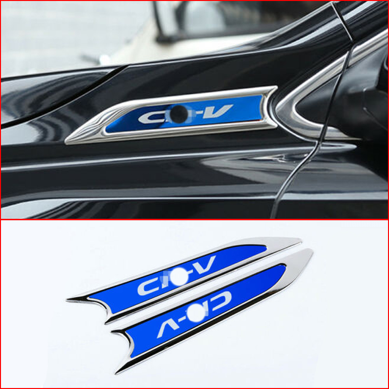 For Honda Civic 2016  Stainless Steel Inner Door Wrist Stickers 4pcs Blue