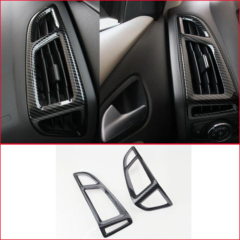 Carbon Fiber Interior Side Air Vent Outlet Cover Trim For Ford Focus 2015-2018