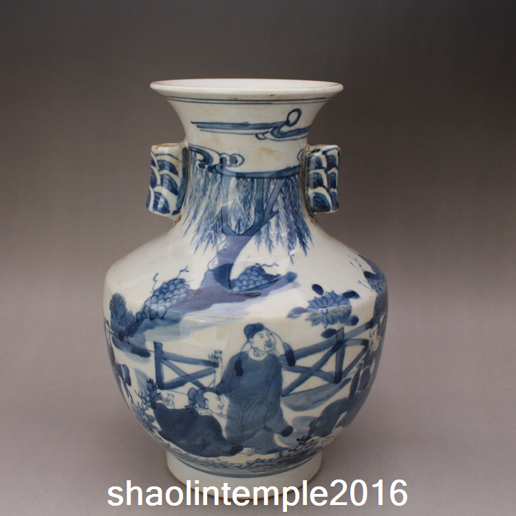 "8.2""China antique Collection Qing Dynasty Blue and white Fu Guan bottle"