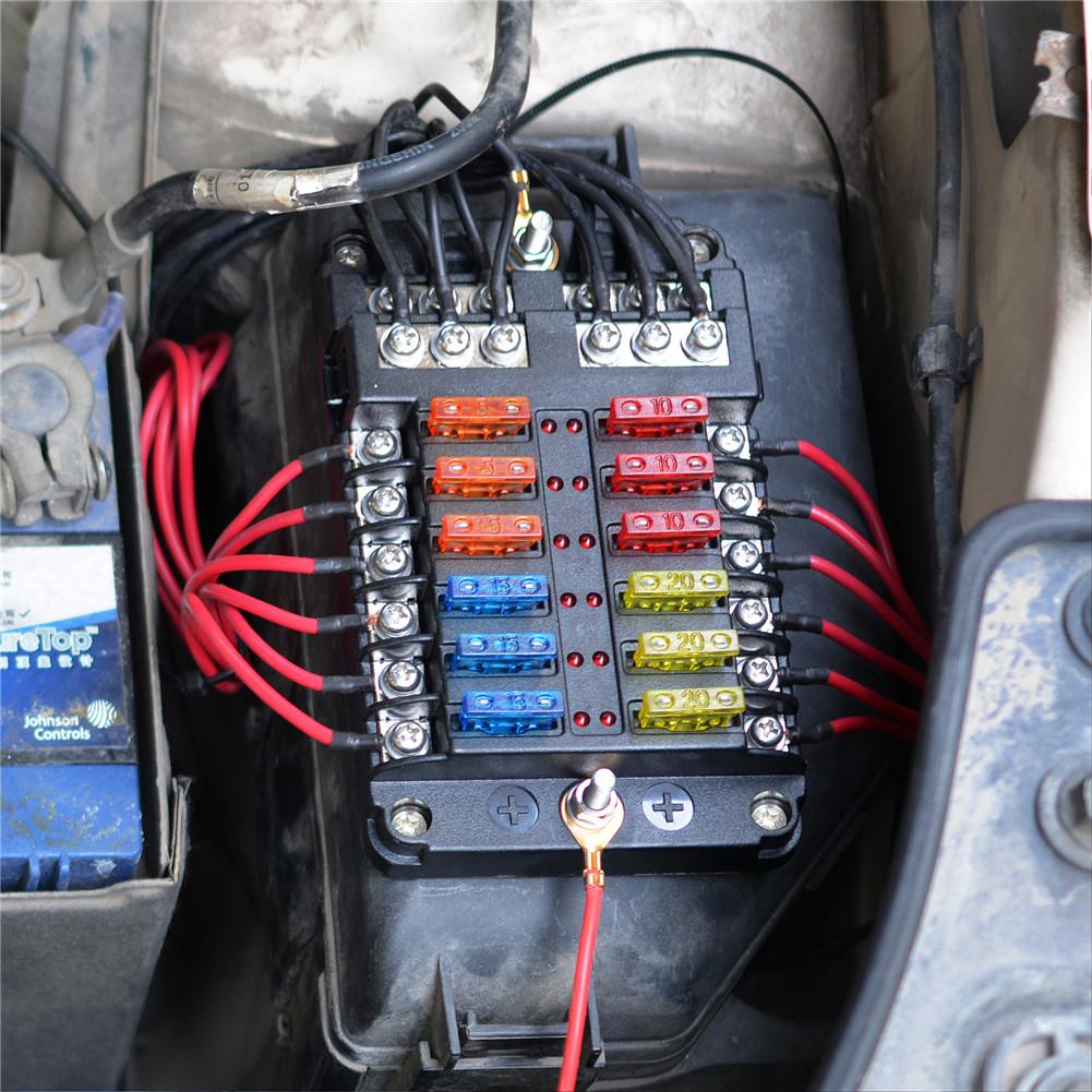 12 Way Blade Fuse Box Block Holder Led Indicator 12v 24v Auto Marine Waterproof