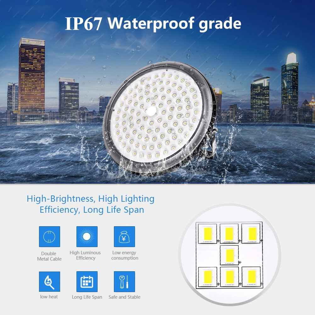 2X 100W UFO LED High Bay Light Fixtures Outdoor Warehouse