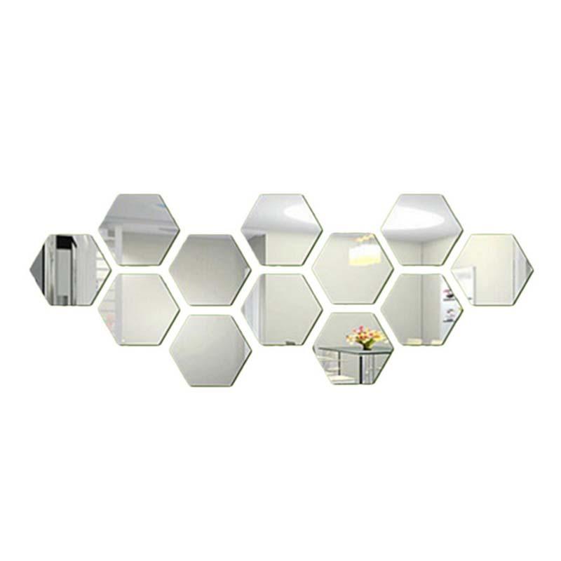 12pcs Hexagon Wall Stickers Creative Mirror DIY Wall ...