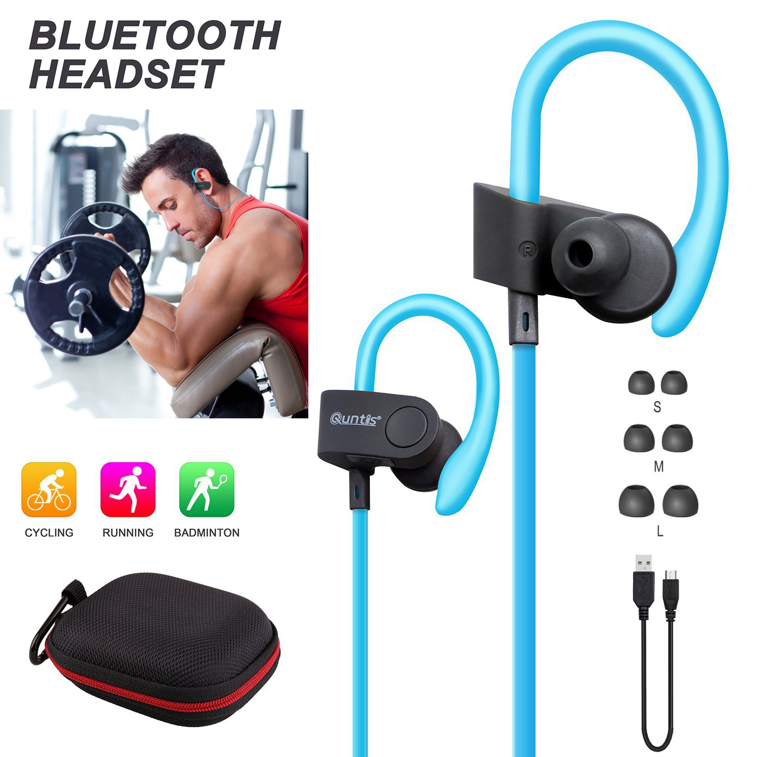 sport wireless bluetooth 4 1 stereo kopfh rer headset in. Black Bedroom Furniture Sets. Home Design Ideas