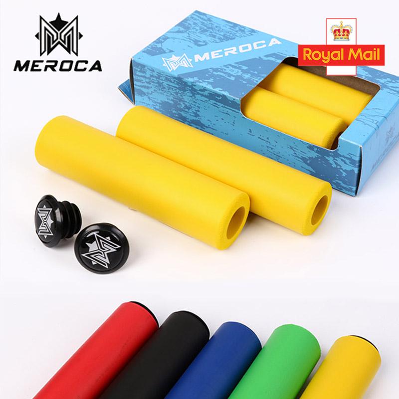 1 Pair MEROCA 130mm Silicone Handlebar Grips+End Plugs Strong Non-Slip MTB Bike