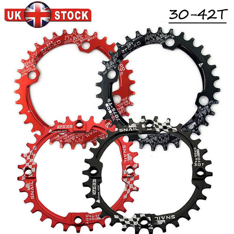 UK STOCK SNAIL 104BCD 30-42T MTB Bike Chainring Narrow Wide Chain Ring Bolts