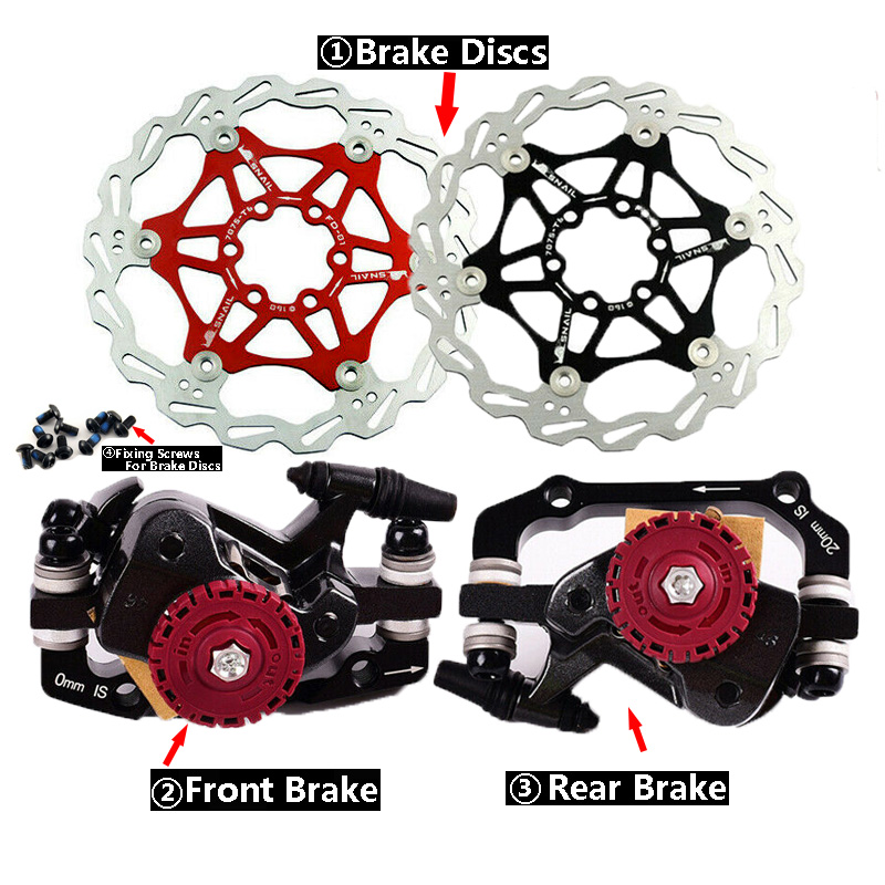 Mechanical Brakes Disc MTB bike Calipers Front&Rear Give away 6 Bolts for SRAM