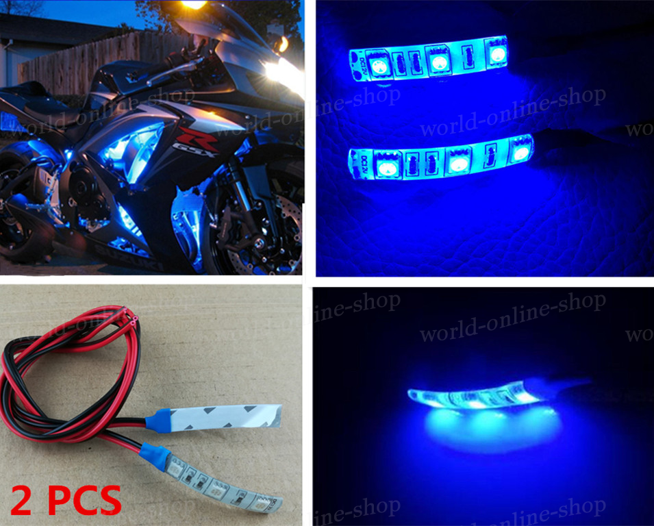 For motorcycle under glow accent lighting 2pcs 3 smd blue led for motorcycle under glow accent lighting 2pcs 3 smd blue led strip lights lamp aloadofball Choice Image