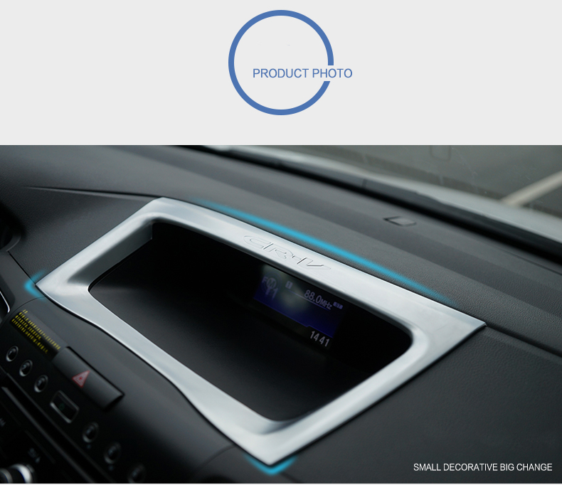 For Honda CR-V Crv 2012-16 Chrome Matte Dash Navi Panel Cover Trim Frame Molding