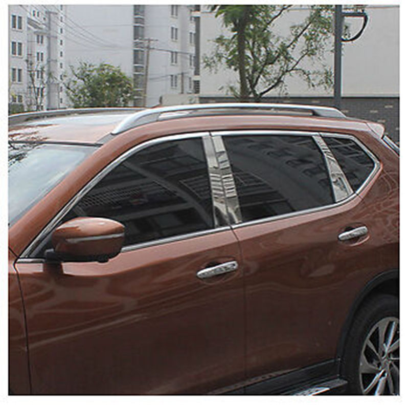 8pcs Stainless Steel Window Posts Trim For Nissan X-trail Rogue 2014 15 16 2017