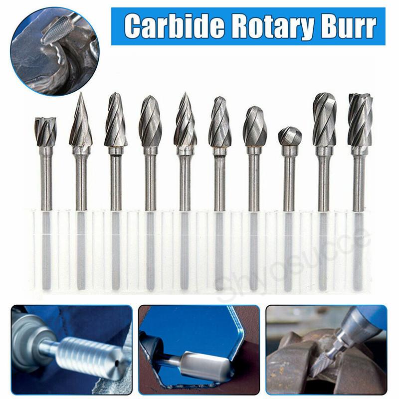 "10PCS Tungsten Carbide Rotary Burr Drill Bits Set Cutter Cut 3mm 1//8/"" Shank"