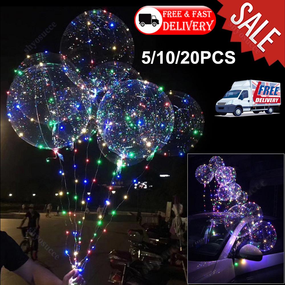 """18/"""" LEDs Light Up Bobo Balloon Transparent Wedding Birthday Helium Party Lamp UK"""