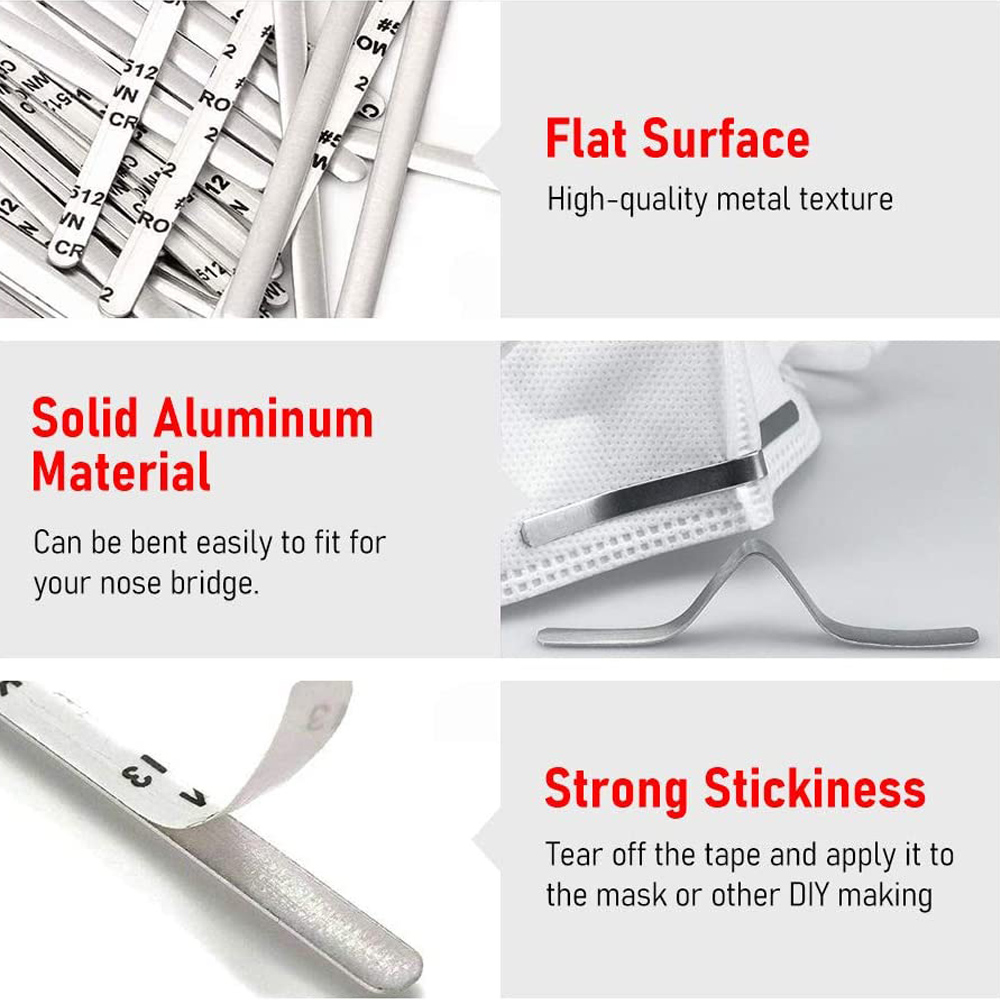 150 Pieces Nose Bridge Strip Aluminum Strips Nose Wire Adhesive Back 90 mm Nose Bridge Bracket Flat Nose Clips for DIY Sewing Crafts