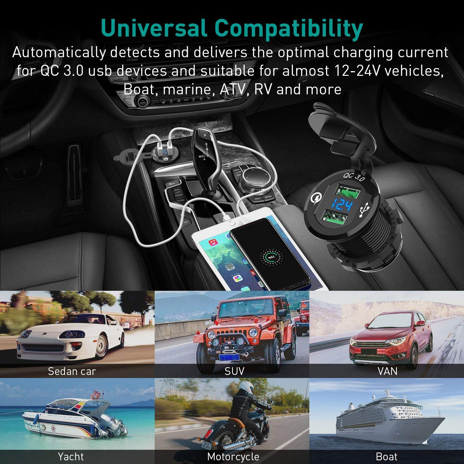 2 USB Fast Charging DC 12-24V for car boat marine motorcycle ATV IP66 waterproof