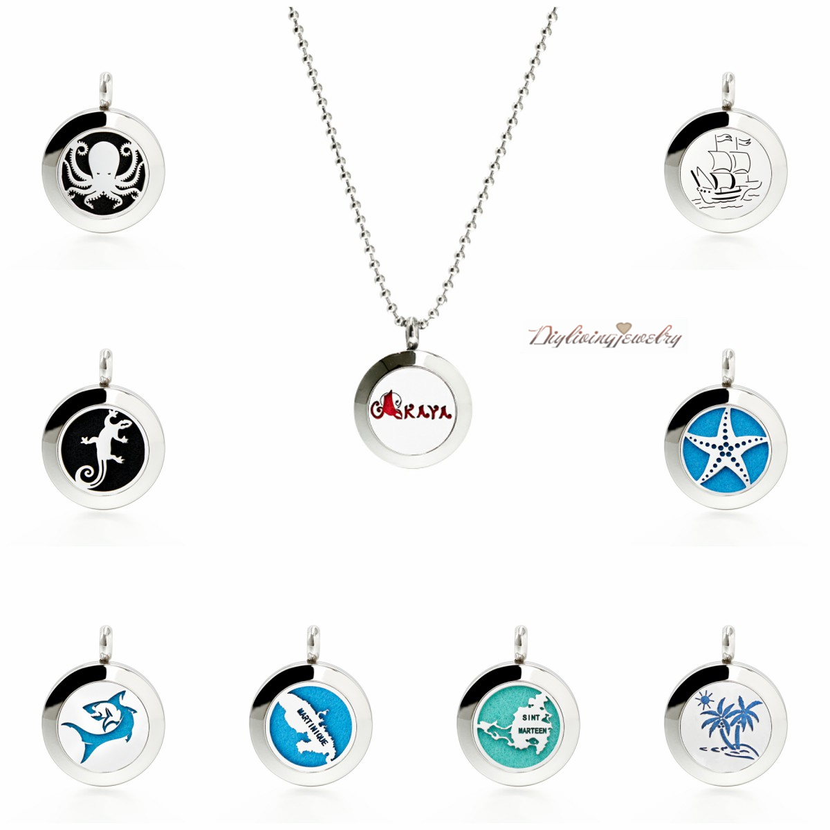 Hot 25mm Alloy Aromatherapy Essential Oil Diffuser Locket Pendant with Necklace