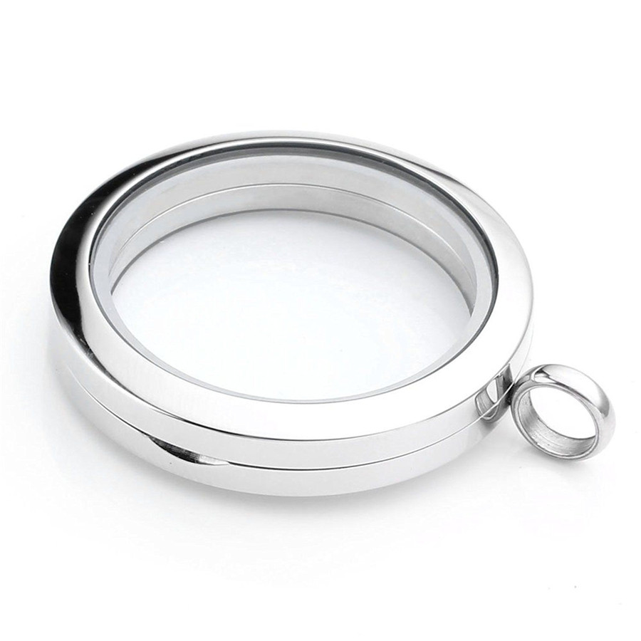 316L Stainless Steel magnetic Screw Open Living Floating Glass Locket for Charms