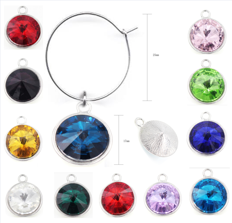 Birthstone Wine Glass Charms Drink Markers Charm Ring For Wedding ...