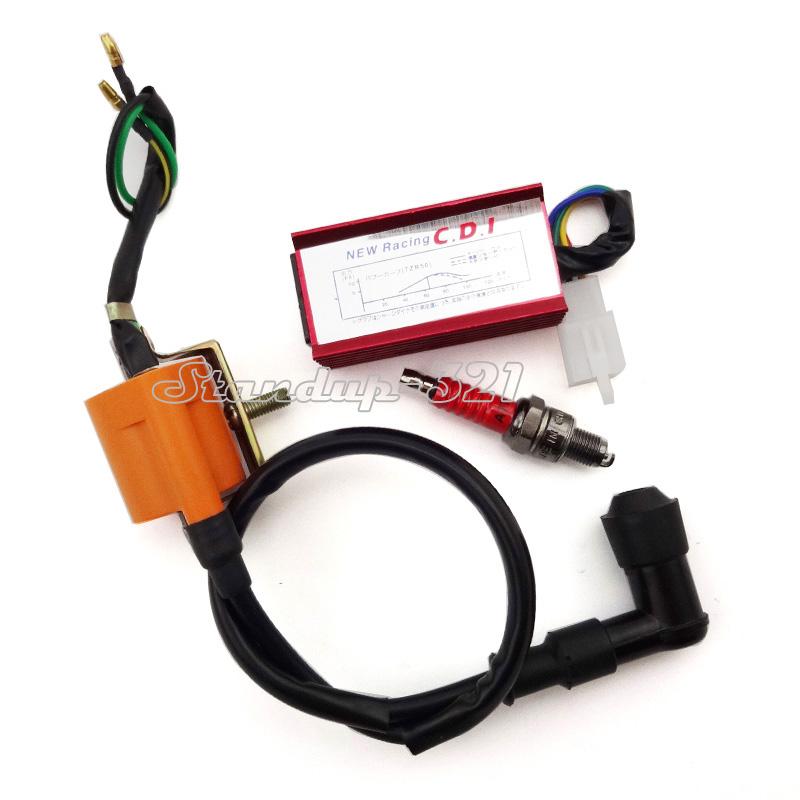 Racing Ignition Coil CDI Spark Plug For 50cc 70cc 90cc 110cc Loncin