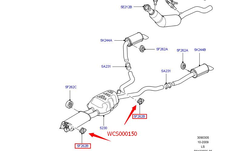 Exhaust Muffler Hanger Land Rover LR3 LR4 Range Rover Sport Premium WCS150 x2pcs