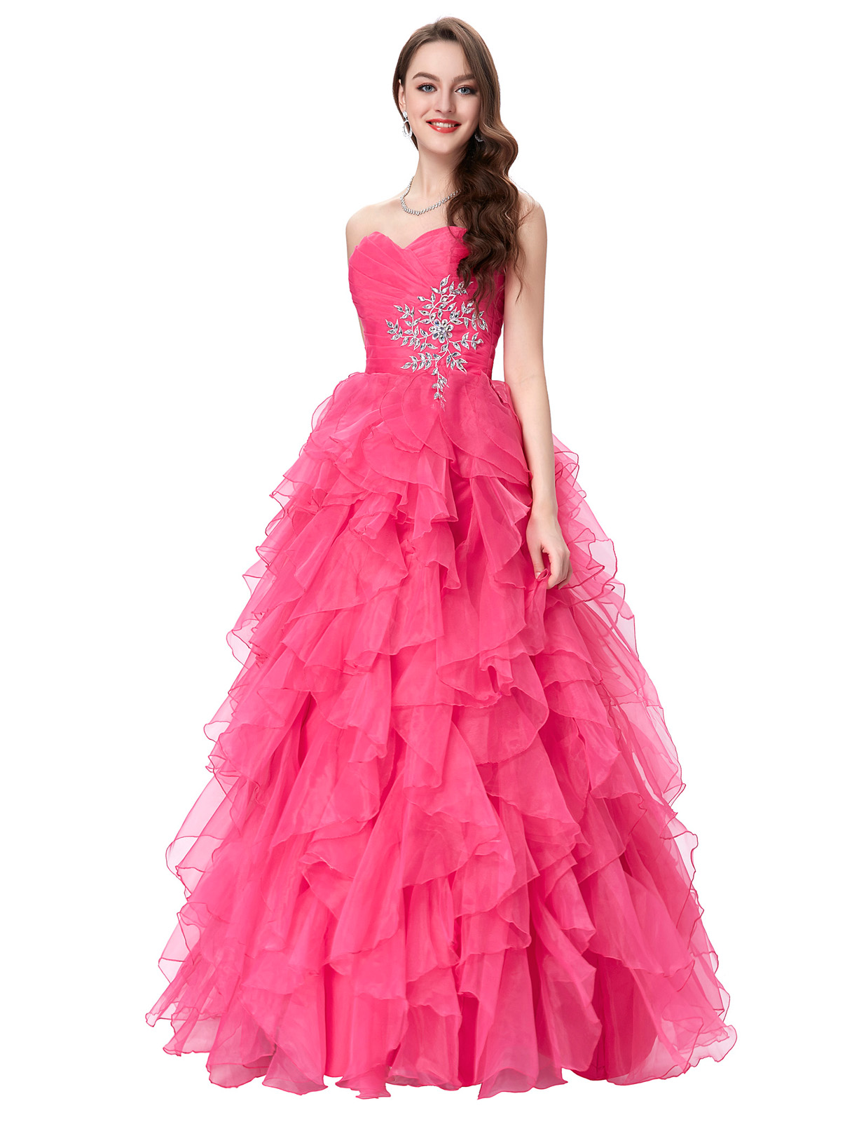 Hot quinceanera bridal dresses formal prom party ball gown for High low ball gown wedding dress