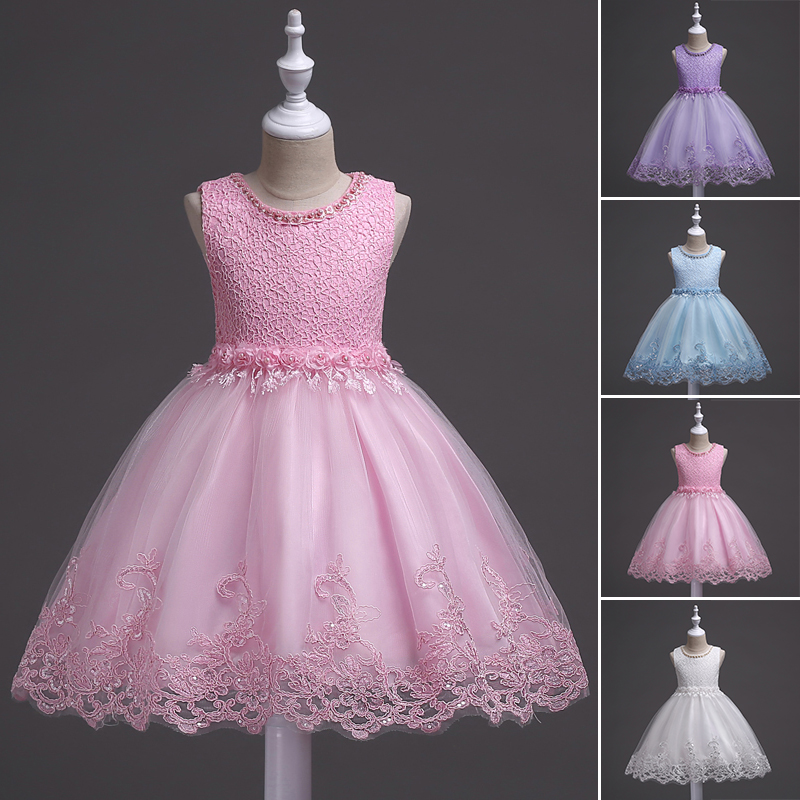 Flower Girls Princess Kids Baby Party Wedding Pageant Formal Lace ...