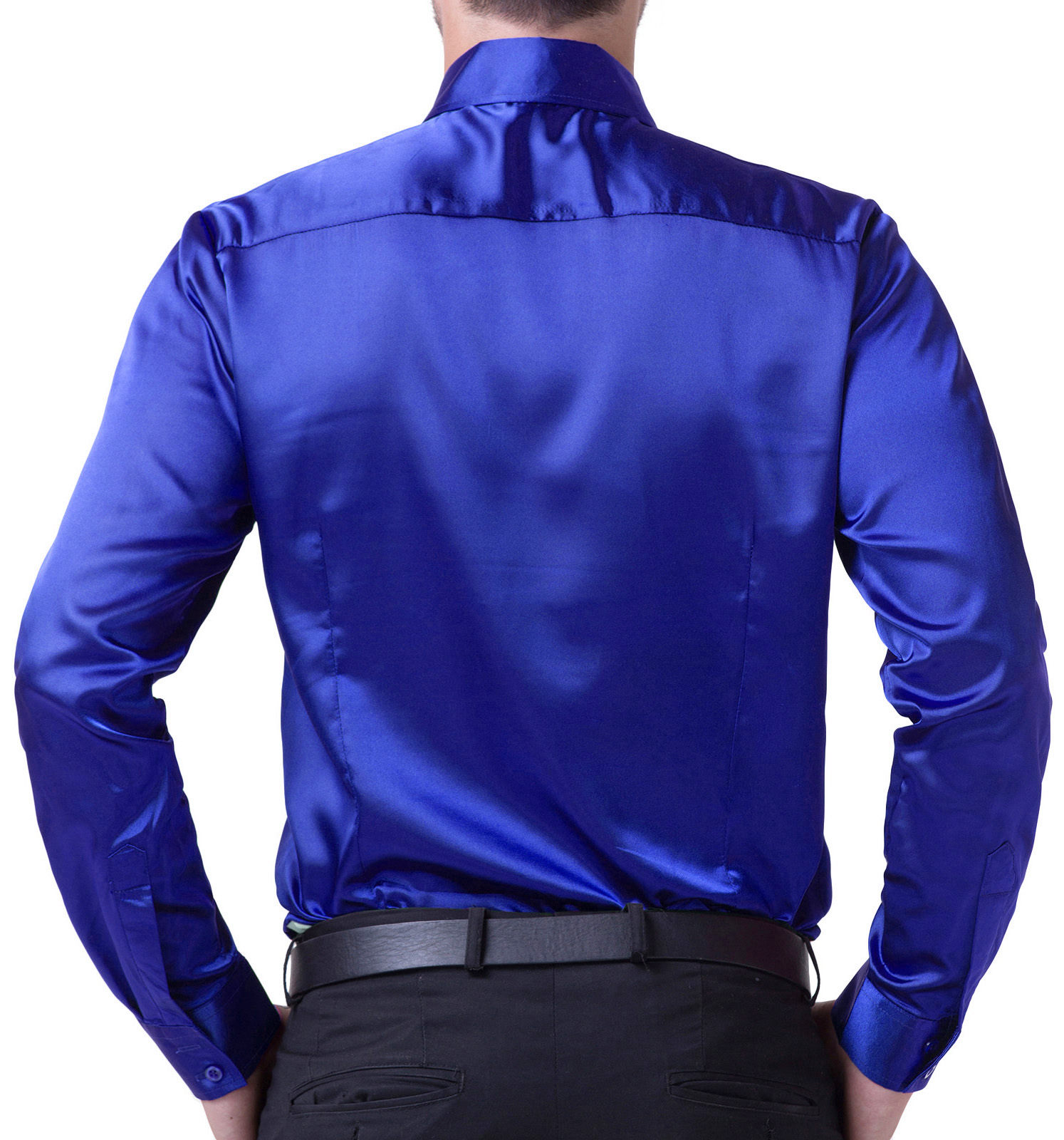 Fashion Men Shirts Luxury Silk-Like Satin Dress Shirt Tops Wedding ...