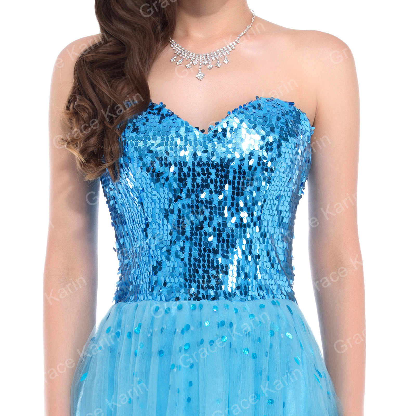 GK Lady Long Maxi Shinny Sequin Tulle Prom Dress Evening Party ...