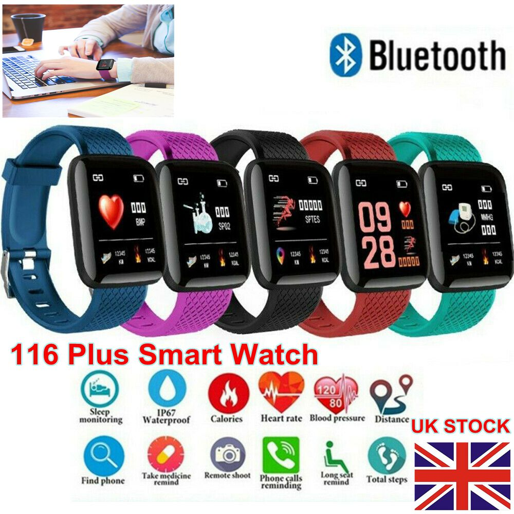 Details about Fitness Activity Tracker 116Plus BT Smart Watch Band Bracelet  Sport Pedometer UK