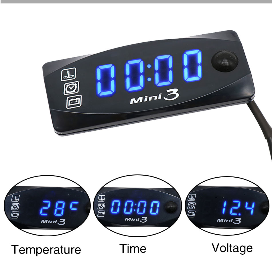 RuleaxAsi H# 3 in 1 Motorcycle ATV Voltmeter+Electronic Clock+Thermometer Digital LED Temperature Voltage Tester