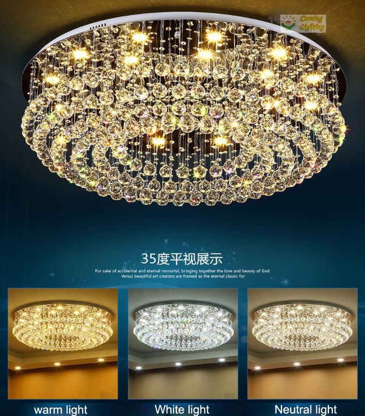 LED Modern K9 Clear Crystal Ceiling Light Pendant Lamp Chandelier Lighting #2210