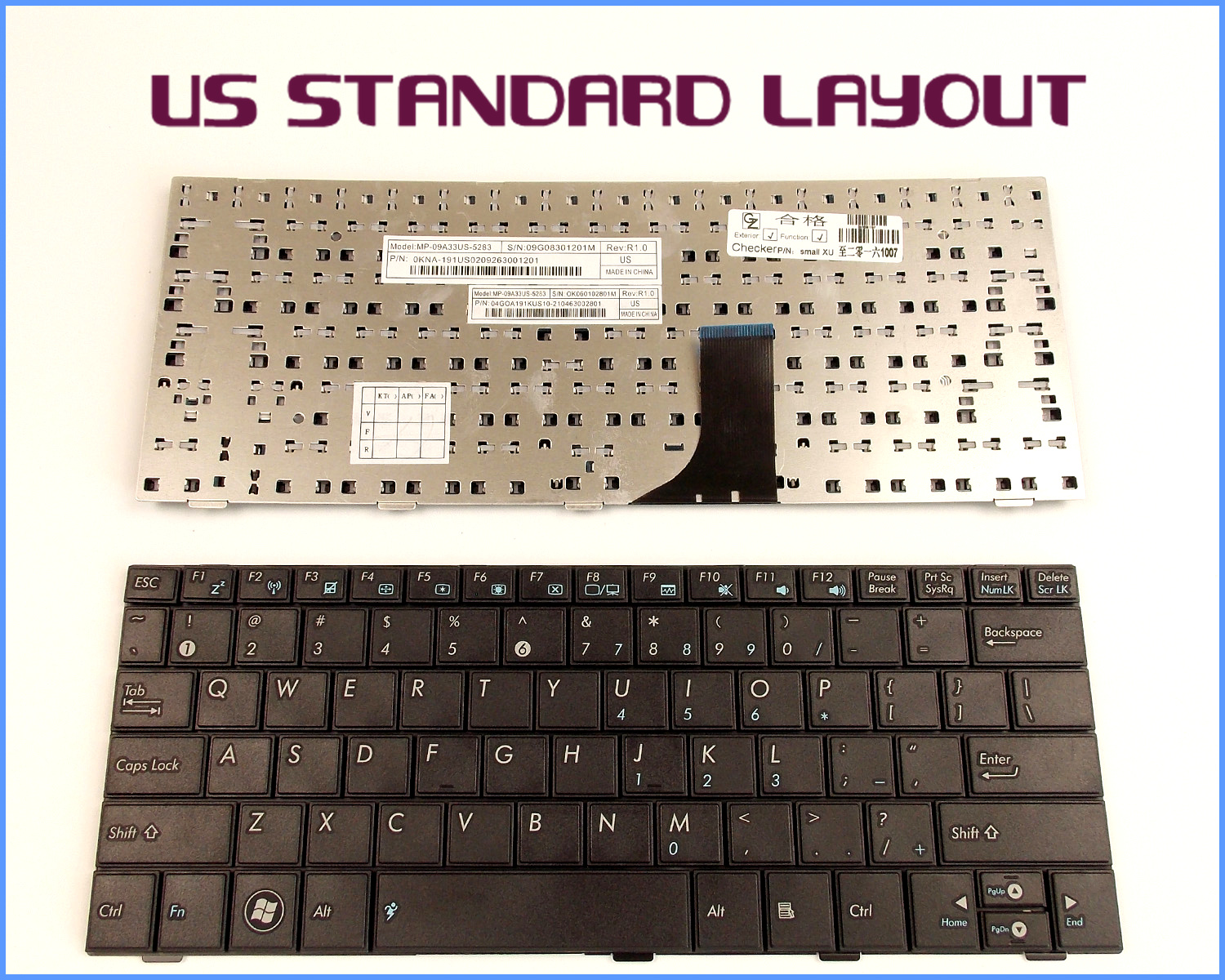 NEW KEYBOARD FOR ASUS EEE PC EPC MP-09A33US-5282 0KNA-192US02 04GOA192KUS10-2 US