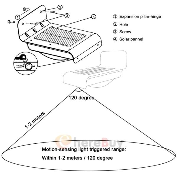 2pack 16 led solar power motion sensor garden security lamp outdoor light usa
