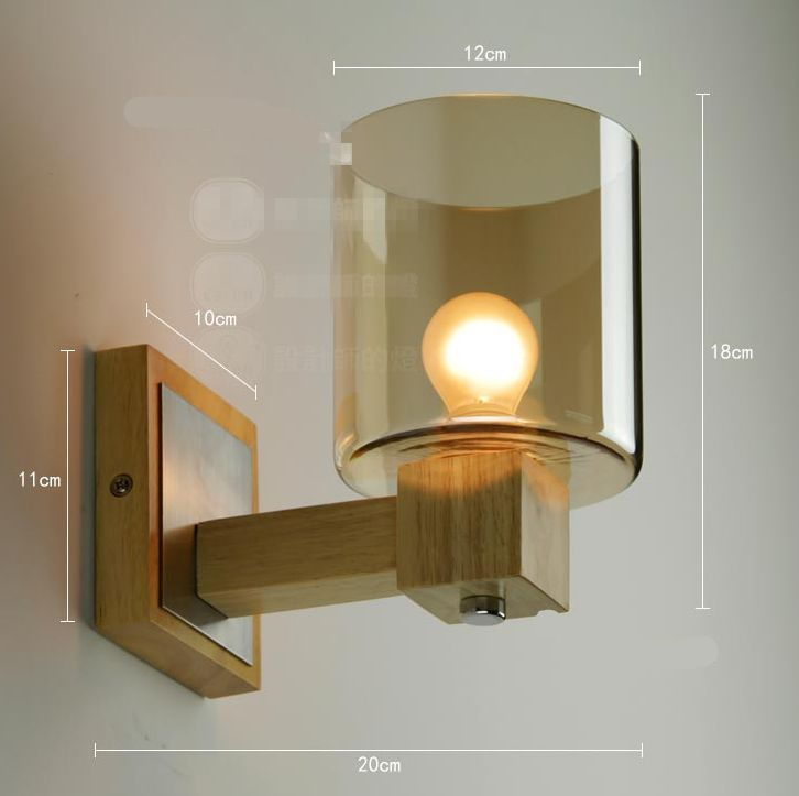 Modern NEW Solid Wood Wall Lamp Glass Cover Light DIY Lighting Home ...