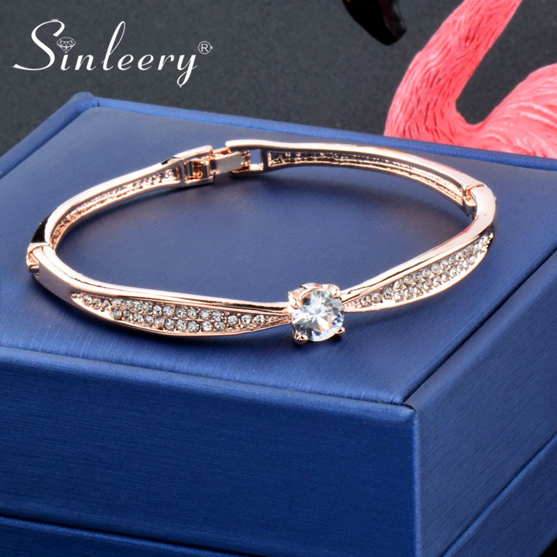 Details About Simple Round Crystal Rose White Gold Plated Bracelet Bangle Wedding Jewelry