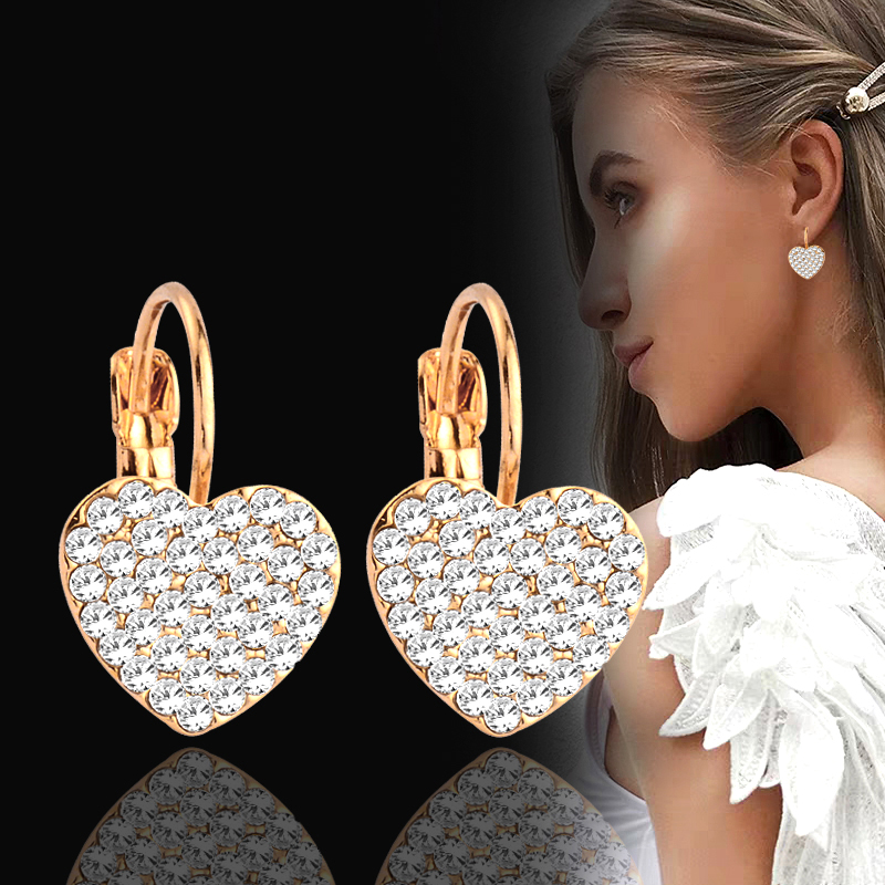 MoAndy Jewelry Silver Plated Women Stud Earring Romantic Three Layers Heart Yellow